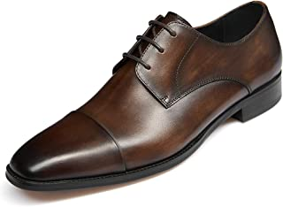 Men's Handmade Leather Modern Classic Lace up Leather Lined Perforated Dress Oxfords Shoes