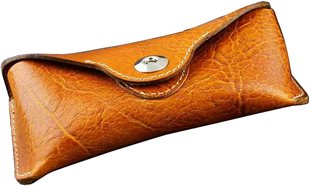 Genuine Leather Handmade Eyeglasses Box Sunglasses Case w/Snap