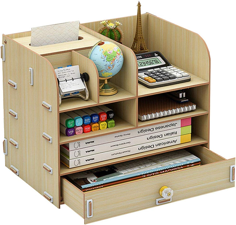 Office Desktop Folder Storage Box Multi-Function Wooden Student Stationery Pen Holder Book A4 Multi-Layer Storage Shelf (color   C)