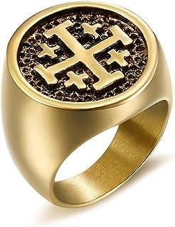 Chevali/ère Bague Homme Templier Croix Potanc/ée Ordre Jerusalem Or Plaqu/é PVD Acier 316L Dor/é BOBIJOO Jewelry
