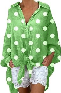 Remanlly Women Fashion Blouses Long Sleeve Casual Polka Dot Shirts V-neck Plus Size Tops