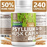Premium Psyllium Husk Capsules [All Natural & Potent] - Powerful Soluble Fiber Supplement Helps Support Regularity & Digestion, Reduce Constipation, Lower Cholesterol & Support Weight Loss - 240 Caps