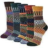 Justay 5 Paar Wollsocken Wintersocken Damen Merino Socken Thermosocken Stricksocken Winter Dicke Damensocken Atmungsaktive Weiche Socken - MEHRWEG