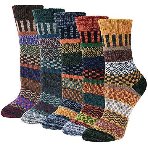 Justay 5 Paar Wollsocken Wintersocken Damen Merino Socken Thermosocken Stricksocken Winter Dicke...