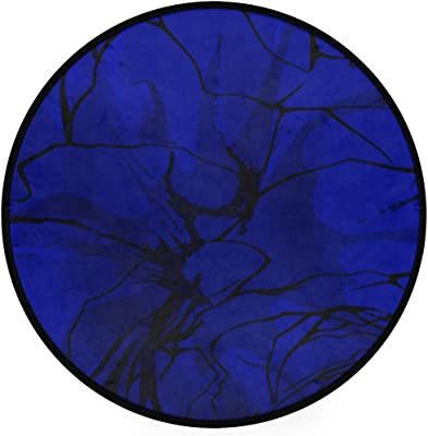 Blue Abstract Area Rug Round Non-Slip Carpet Living Room Bedroom Bath Floor Mat Home Decor (3 Feet Round)
