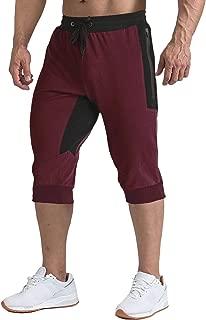 Men's Shorts 3/4 Jogger Capri Long Shorts Running Cotton Below Knee Pants with Pockets