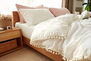 TanNicoor Pom Fringe Duvet Cover Set - 3 Piece Natural Ultra SOFE Color Color Washed Cotton Bedding Set, Modern Style Down...