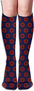 Fishman Donut Fabric, Dark Colors Compression Socks Adult Knee High Sock Gym Outdoor Socks 50cm 19.7inch