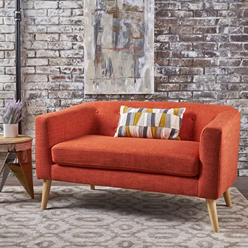 Best Althea Button Back Mid Century Fabric Modern Loveseat (Muted Orange)