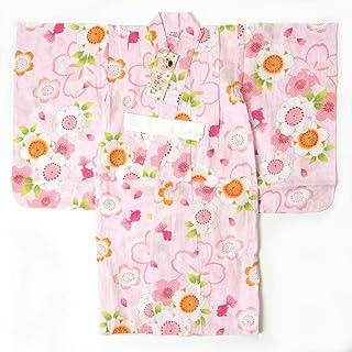 子供浴衣 女の子 100cm 3~4才 単品 ピンク地 桜