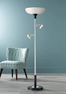 Yarrow Light Blaster Modern Torchiere Floor Lamp with Reading Lights LED Brushed Nickel Matte Black White Frosted Glass Shade for Living Room Bedroom Office Uplight - Possini Euro Design