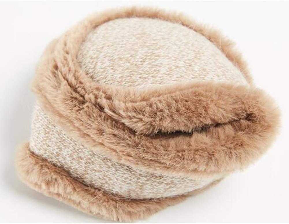 ZYXLN-Earmuffs,Warm Earmuffs Girls Winter Earmuffs Winter Knitted Earmuffs Antifreeze Collapsible Ear Warmer Lovely Fluffy Earmuffs Behind The Head Earmuffs (Color : Khaki)