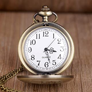 Vintage Copper Kids Gift Analog Quartz Pocket Watch with Chain