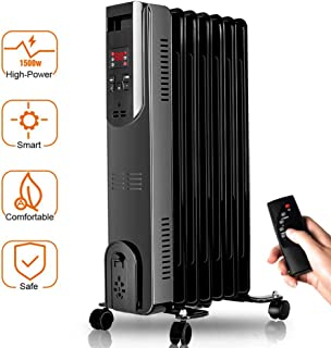 Airchoice Oil Heater - Oil-Filled Radiator with Remote Control, Digital Display, Overheat & Tip-Over Protection, 1500W Constant Heating for Large Room, Comfortable Companion in Cold Weather