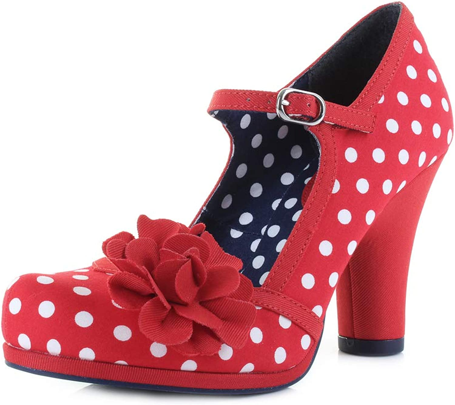 Ruby Shoo Hannah Red Spots Womens Block Heels