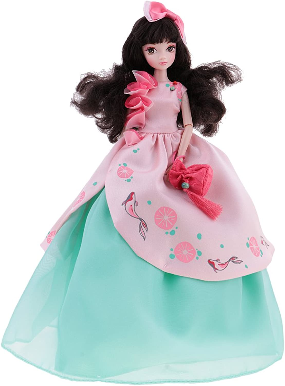 Jili Online Posture Flexible 28 cm 10 Joints Costume Vinyl Kurhn Doll with 17cm Stand Festival Gift Princess Toy Green