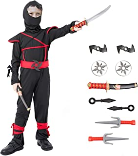 Ninja Halloween Costume for Boys with Included Accessories for Child Dress up Best Gifts (Red, X-Large(10-12Y))