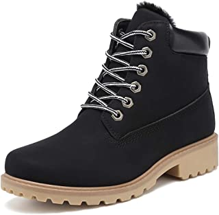 Inornever Winter Snow Boots for Women Waterproof Shoes Flat Lace Up Ankle Booties Low Heel Work Combat Boots
