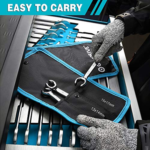 GEARDRIVE Flare Nut Wrench Set, Metric, 3-piece, 10-17mm, Chrome Vanadium Steel, Organizer Pouch Included
