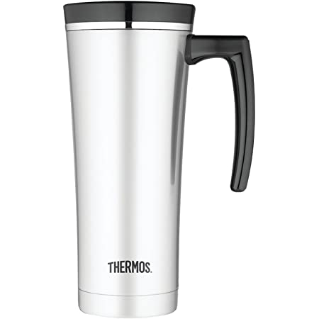 Thermos Thermos 16 ounce vacuum insulated travel mug black, 8 Ounce, Silver (NS100BK004)