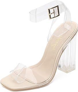 Best G349-1 Clear Heels Chunky Heel Ankle Strap Sandals Open Toe Block Heels Review
