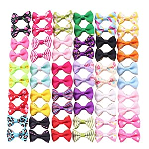 YAKA 60PCS (30 Paris) Cute Puppy Dog Small Bowknot Hair Bows with Metal Clips Handmade Hair Accessories Bow Pet Grooming Products (60 Pcs,Cute Patterns)