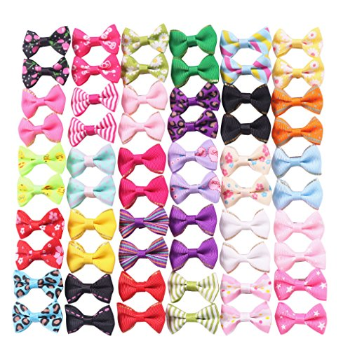 YAKA 60PCS (30 Paris) Cute Puppy Dog Small Bowknot Hair Bows with Rubber Bands (or Clips) Handmade...