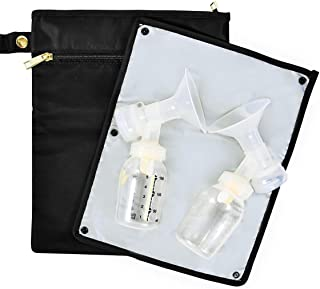 The New Yorker Wet/Dry Bag for Breast Pump Parts, Includes Staging Mat (Black/Gold)