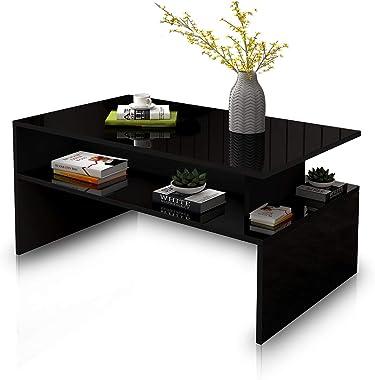 Coffee Table Storage Shelf High Gloss Cabinet Console Wood Living Room Modern Furniture - Black 90cm