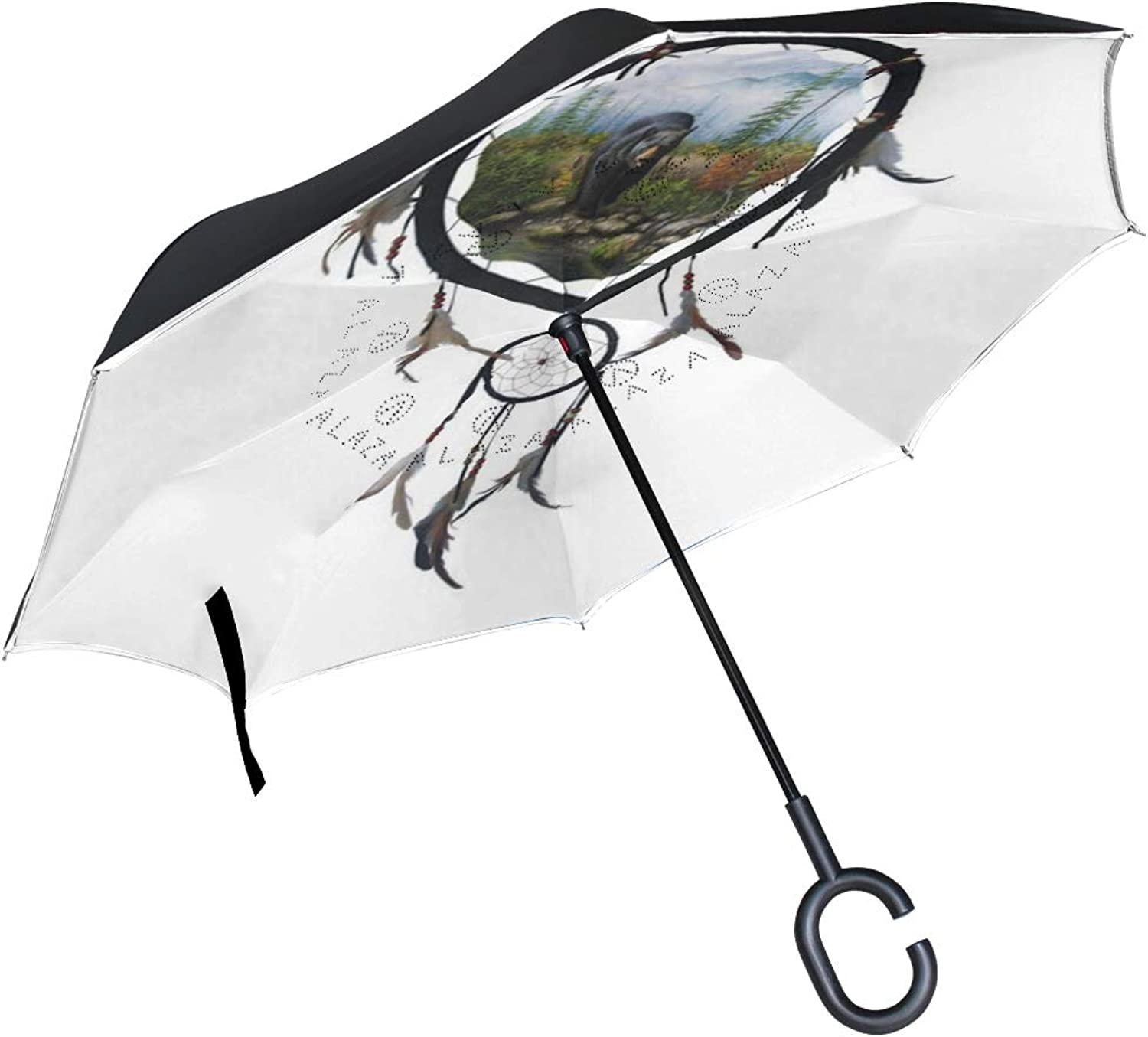 Ingreened Umbrella Double Layer Reverse Umbrella Waterproof Windproof UV Predection Straight Umbrella with CShaped Handle Dream Catcher Bear Digital Printing for Car Rain Outdoor Use