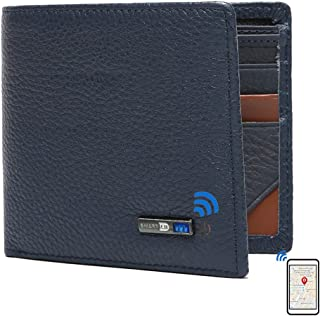$25 » Smart Anti-Lost Bluetooth Tracker mens wallet , Position Record (Via Phone GPS), Bifold Genuine Leather Men's Wallets (Blue)