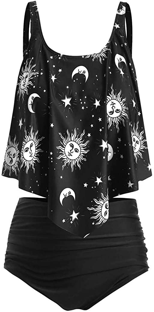 JHDESSLY Women's Two Piece Swimwear Sun Moon Print Ruffle High Waisted Tankini Set Swimsuit Tummy Control Bikini