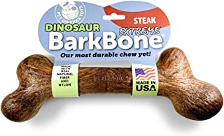 Pet Qwerks Extreme Dinosaur BarkBone Steak Flavor - Tough Chew Toy for Extremely Aggressive Chewers, Durable Indestructibl...