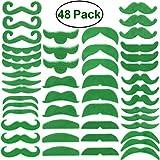 LUOEM Baffi Finti Adesivi Accessorio Costume San Patrizio Leprechaun Irlandese Verde 48 Pezzi
