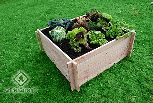 GrünerGarten® groentebed, premium kwaliteit, bio douglasie planken, zeer robuust, zeer eenvoudige montage zonder gereedschap, volledig vrij van schadelijke stoffen 110 x 110 x 75 cm Douglasie