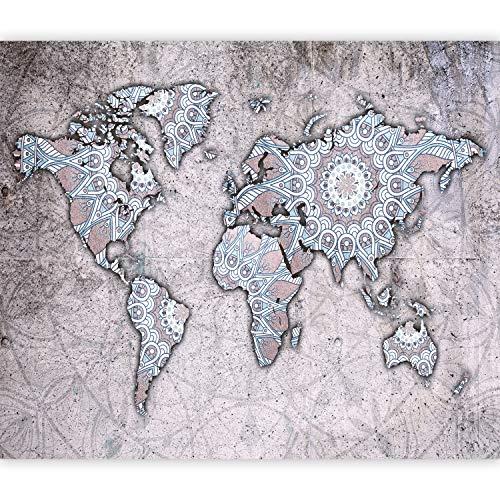 murando Fototapete selbstklebend Weltkarte 98x70 cm Tapete Wandtapete Klebefolie Dekorfolie Tapetenfolie Wand Dekoration Wandaufkleber Wohnzimmer Mandala Ornament k-A-0464-a-a