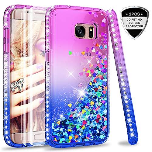 LeYi Compatible with Funda Samsung Galaxy S7 Edge Silicona Purpurina Carcasa con [2-Unidades] 3D Curvo Pet Pantalla,Transparente Cristal Bumper Telefono Fundas Case Cover para Movil S7 Edge Verde