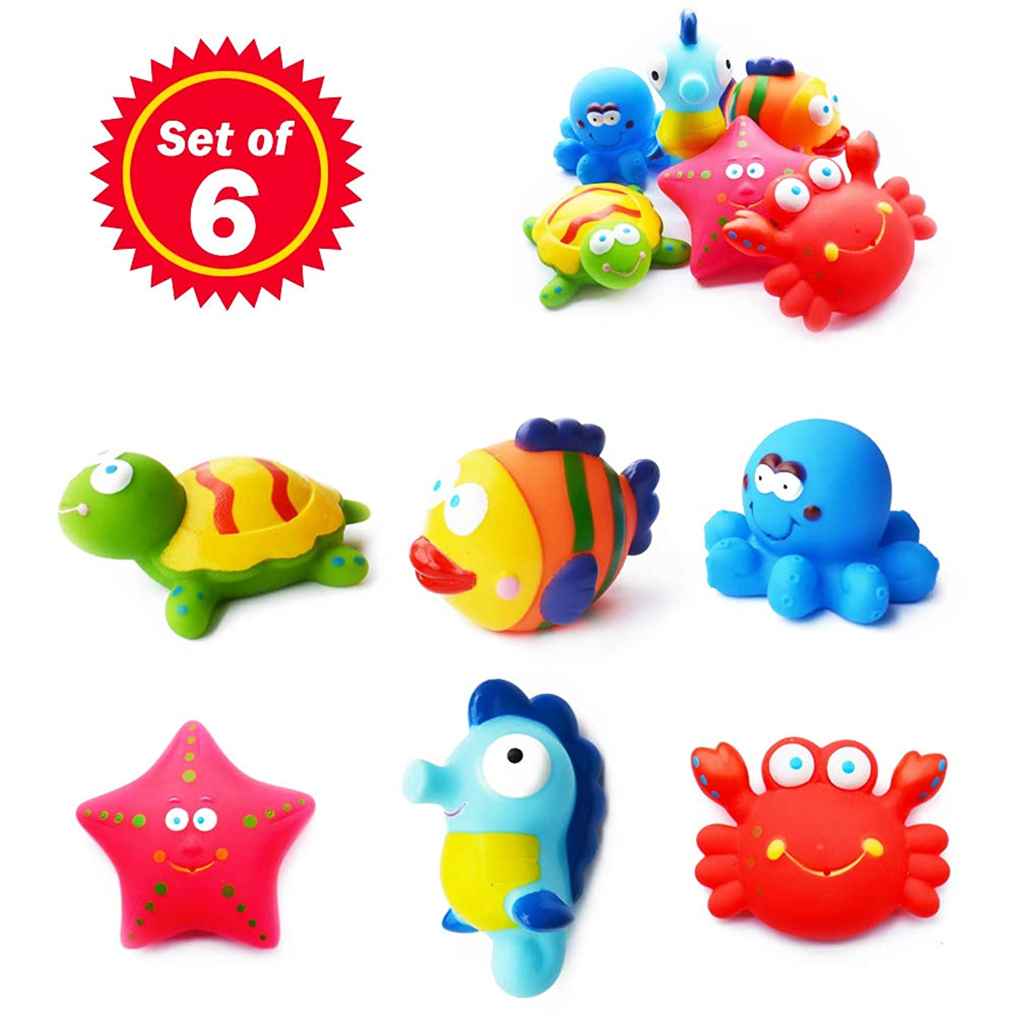 SIBOTER Baby Ocean Animal Bath Toys for Boys and Girls Toddlers Kids, Assorted Sea Animals Squirter Floating Rubber Toys