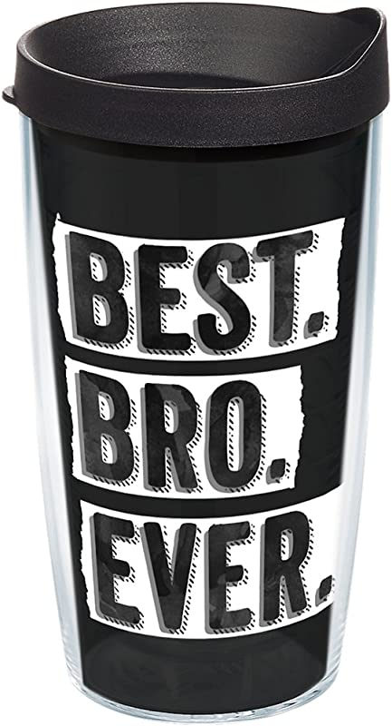 Tervis 1248800 Best Bro Ever Tumbler With Wrap And Black Lid 16oz Clear