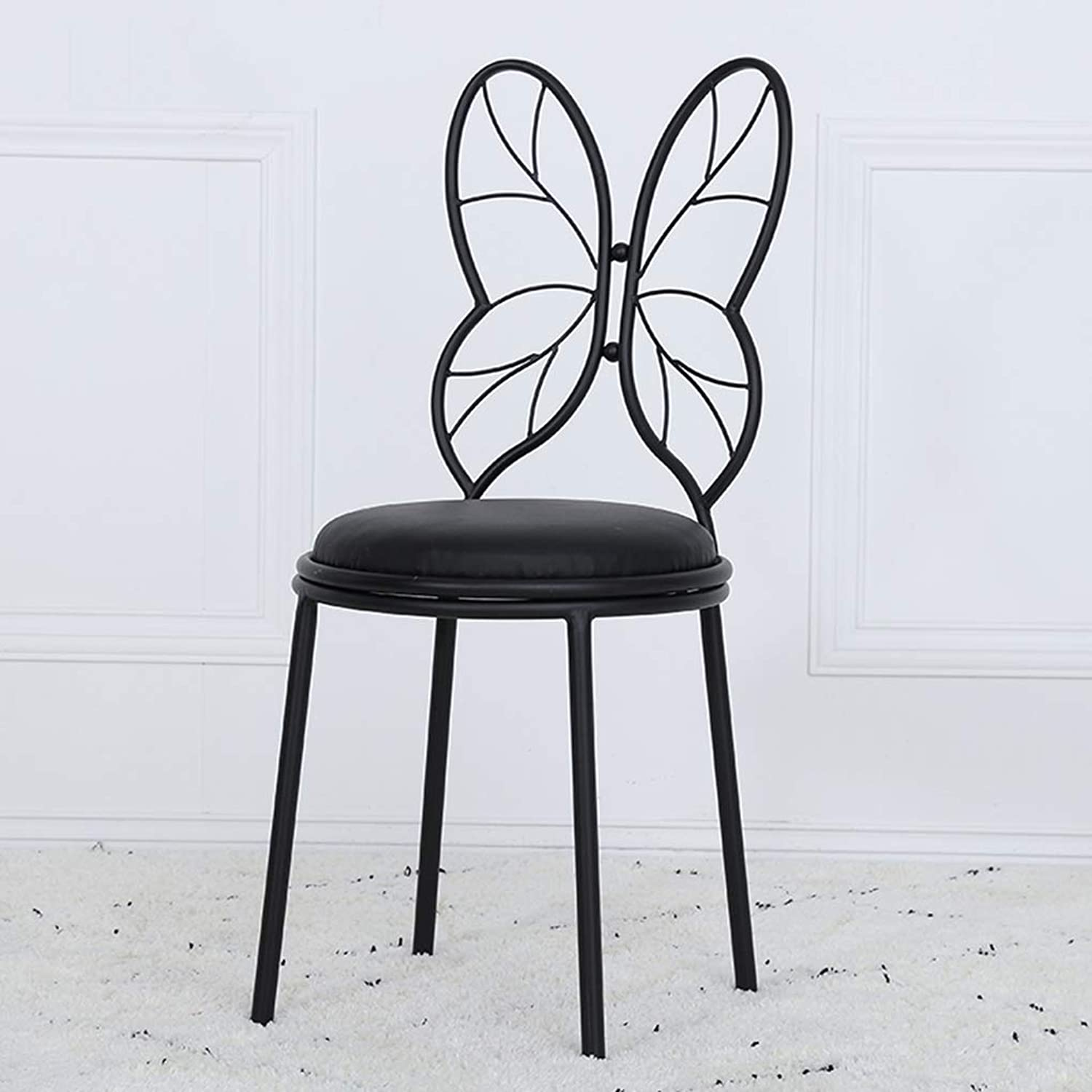 Butterfly Chair, Nordic Light Luxury Iron Dining Chair Simple Front Desk Fashion Chair Lounge Chair Makeup Stool Small Backrest Wrought Iron Chair,F