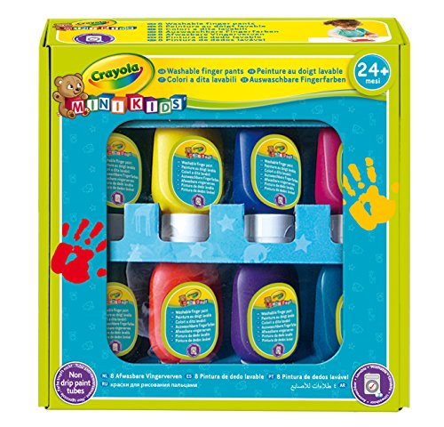 Crayola Mini Kids, Set Tempere a Dita, Lavabile, 8 Pezzi, Flaconi Anti-Goccia, Età 24 Mesi, Colori Assortiti, 7958