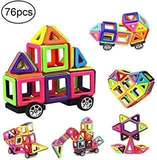 76 PCS Mini Magnetic Tiles Building Blocks Set, DIY Creative STEM Building Block Preschool Educational Construction Kit 3D Magnetic Toys For Boys Girls Kids Toddlers Children With Storage Box