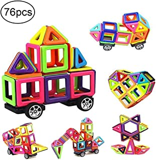 76 PCS Mini Magnetic Tiles Building Blocks Set, DIY Creative STEM Building Block Preschool Educational Construction Kit 3D Magnetic Toys For Boys Girls Kids Toddlers Children With Storage Box