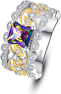 Momius 925 Silver Created Rainbow Topaz Princess Cut CZ Celtic Knot Wide Wedding Band Engagement Ring for Women
