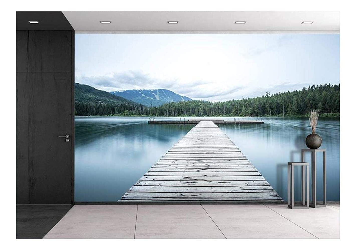 wall26 - Wooden Path to Lake - Removable Wall Mural | Self-Adhesive Large Wallpaper - 66x96 inches