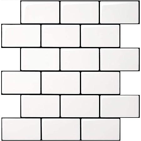 Art3d Subway Tiles Peel and Stick Backsplash (10 Tiles, Thicker Design)