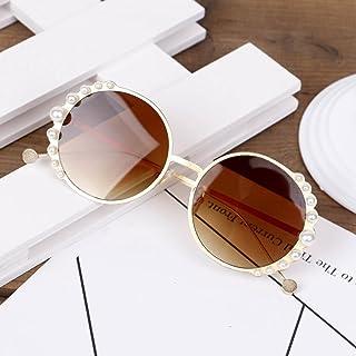 Luntus - Luntus Gafas de Sol Redondas de Metal para niños con Perlas, Gafas Bonitas para niñas y niños, Gafas de Sol de Moda, Sombra UV400