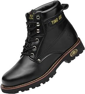 Ting Gu Toe en Acier Bottes de sécurité pour Hommes Chaussures de Travail en Cuir Industriel et Construction Indestructibl...