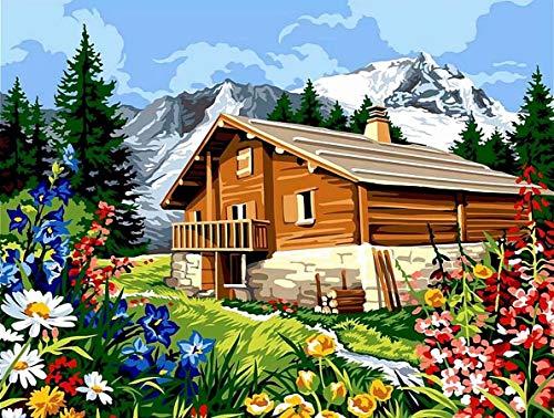 TAHEAT DIY Malen nach Zahlen Kit für Erwachsene, Landschaftsmalerei nach Zahlen auf Leinwand DIY Acrylmalerei 16x20 Zoll - Cottage am Meer, Segeln ohne Rahmen
