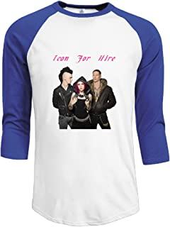 Mens Icon For Hire 100% Cotton 3/4 Sleeve Athletic Raglan Sleeves T-Shirt